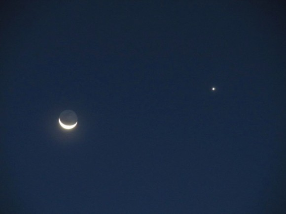 Moon and Venus on April 26, 2014 as seen by Amrizal Rocketman in Yogyakarta, Indonesia.  Thank you, Amrizal.