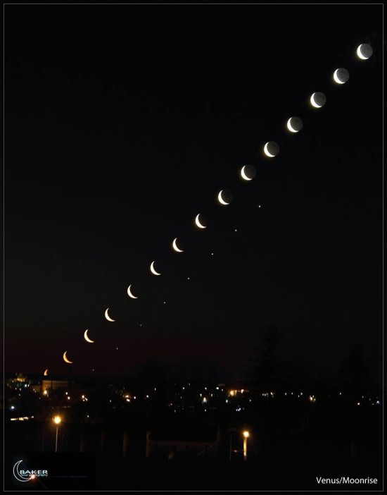 Jacob Baker created this cool composite image of the moon and Venus rising in the east on the morning of Friday, April 25, 2014.  He said it took him about three hours to complete.