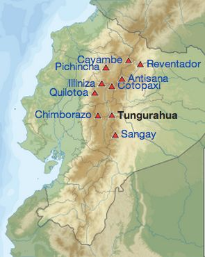 Major volcanos in Ecuador via Wikipedia