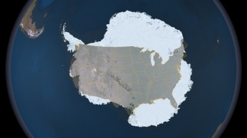 Antarctica/US size comparison via NASA's Project IceBridge.
