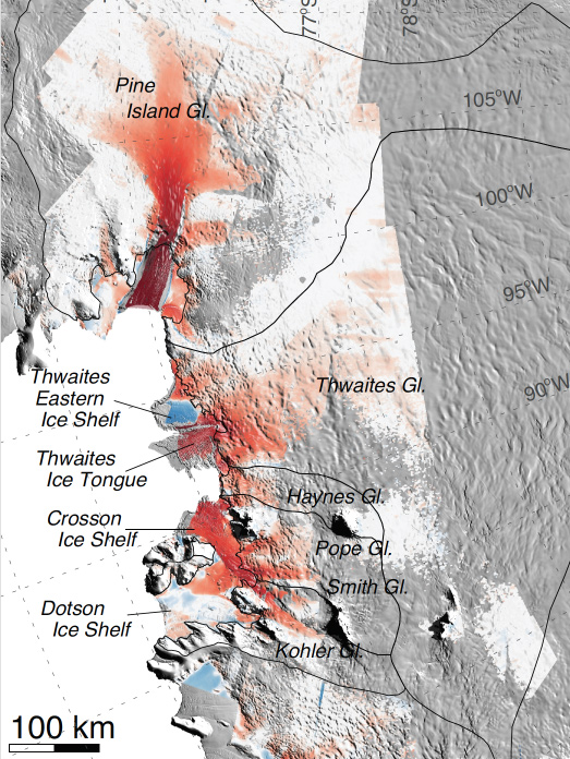 Location of where the glaciers across Western Antarctica continue to melt over time. Image Credit: NASA/Eric Rignot