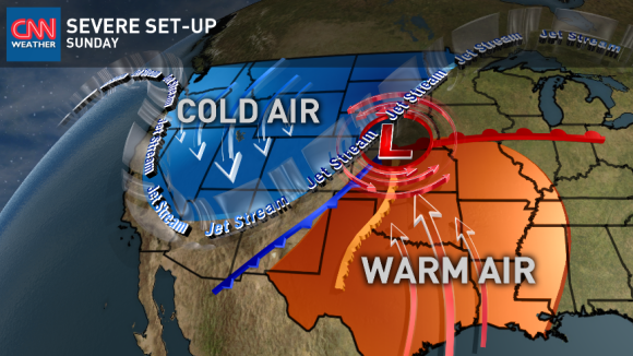 Ingredients are coming together to produce severe weather across the Plains on Sunday, May 11, 2014. Image Credit: CNN Weather