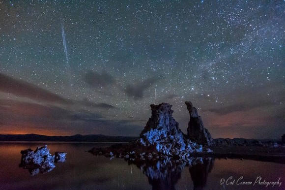 Cat Connor caught some meteors over Mono Lake in California.