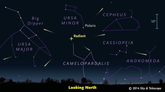The radiant point of the Camelopardalid meteor shower is in the far-northern sky.  That's why this shower is better for the N. Hemisphere.  Chart via skyandtelescope.com