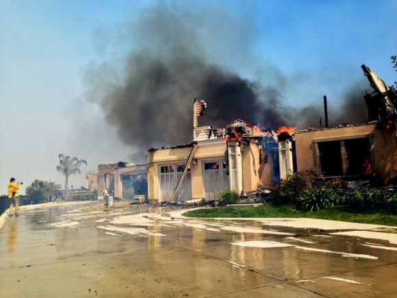 Fires burning out of control in Carlsbad, California. Image Credit: Gina Ferazzi