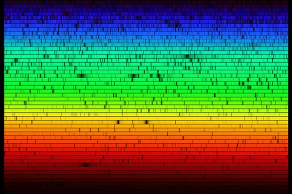 What if we could determine if a given star is likely to host a planetary system like our own by breaking down its light into a single high-resolution spectrum and analyzing it? A spectrum taken of the Sun is shown above. The dark bands result from specific chemical elements in the star's outer layer, like hydrogen or iron, absorbing specific frequencies of light. By carefully measuring the width of each dark band, astronomers can determine just how much hydrogen, iron, calcium and other elements are present in a distant star. The new model suggests that a G-class star with levels of refractory elements like aluminum, silicon and iron significantly higher than those in the Sun may not have any Earthlike planets because it has swallowed them. (N.A.Sharp, NOAO/NSO/Kitt Peak FTS/AURA/NSF)