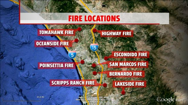 Location of fires across Southern California. Image Credit: Fox 5 San Diego