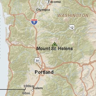 Mount St. Helens in Washington state.  Castle Rock, WA; Olympia, WA; Vancouver, WA; Yakima, WA; Portland, OR.  Map via USGS.
