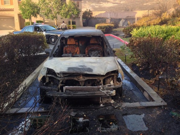 A vehicle completely burned from the inside out. Image Credit: Rielle Creighton