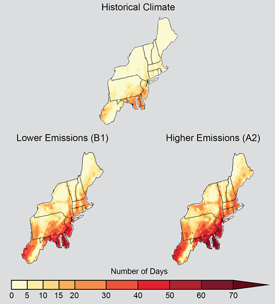 Projected increase in number of days per year in the US Northeast with maximum temperatures above 90 degrees F, 2041-2070, compared with 1971-2000, under lower or higher greenhouse-gas emissions. Image via NOAA NCDC / CICS-NC