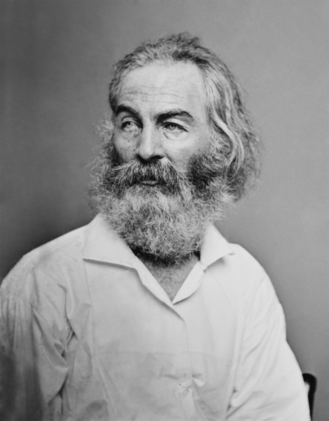 Walt Whitman as photographed by Matthew Brady.