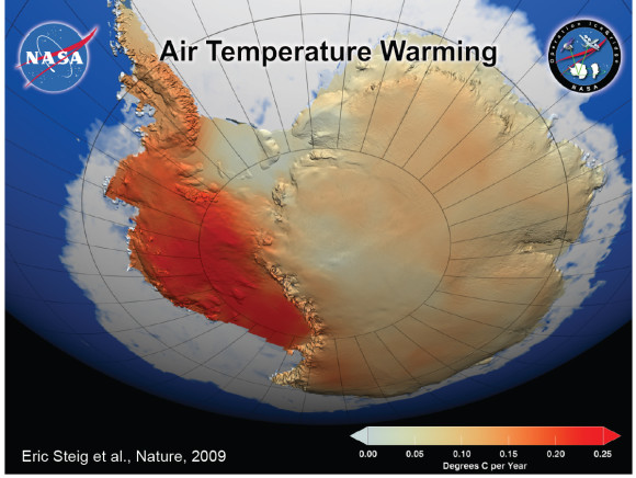 Glaciers have been melting thanks to a combination of winds and warmer temperatures. Image Credit: NASA (2009)