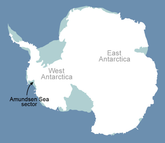 Location of where the glaciers are melting across Western Antarctica. Image Credit: NASA