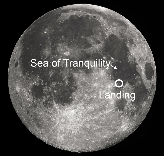 View larger. | Apollo 11 landing site, 1969.  Image by Soerim via Wikimedia Commons.