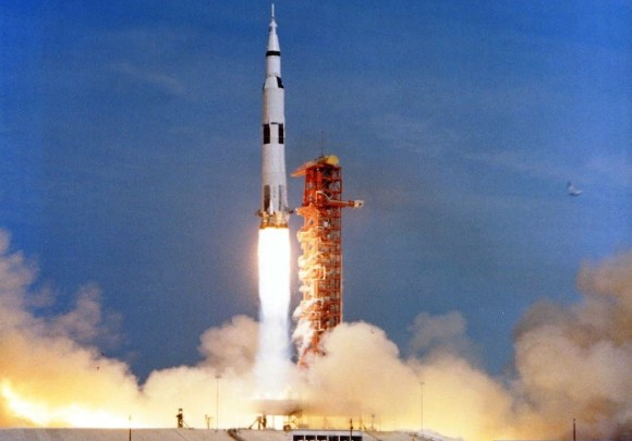 Apollo 11, which carried the first astronauts to set foot on the moon, launched on July 16, 1969.  The human footsteps on the moon took place on July 20, 1969.