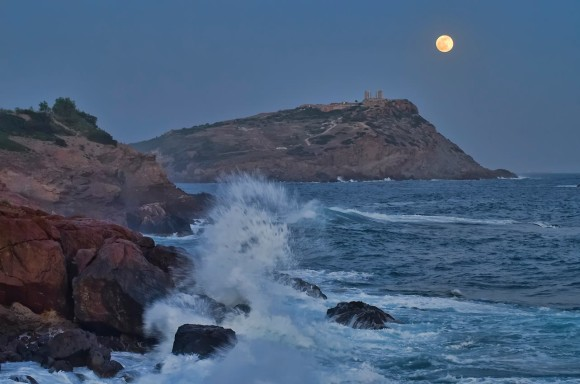Full moon over Poseidon's Temple