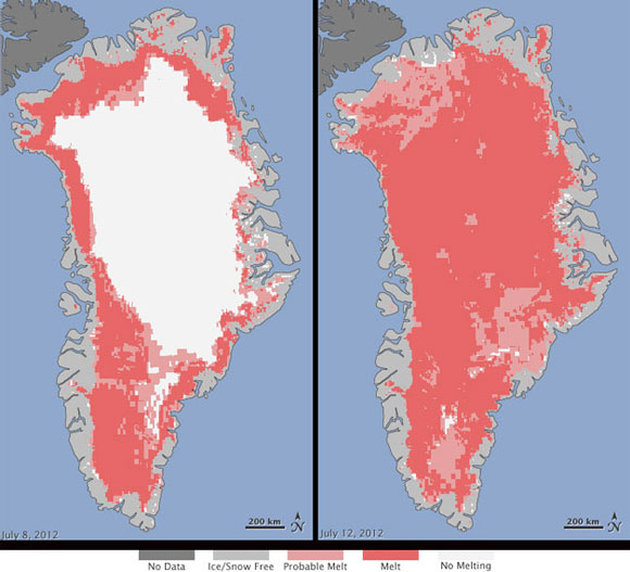 Extent of surface melt over Greenland's ice sheet in July 2012. Image Credit: Nicolo E. DiGirolamo and Jesse Allen, NASA.