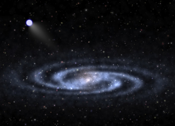 An astrophysicist-artist's conception of a hypervelocity star speeding away from the visible part of a spiral galaxy like our Milky Way and into the invisible halo of mysterious
