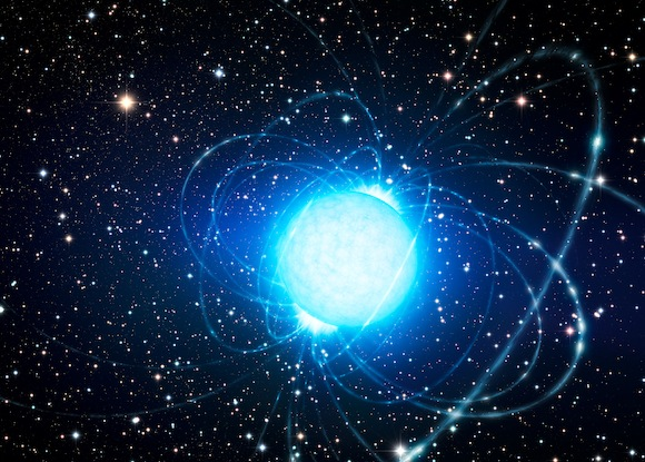 Artist's impression of the magnetar in the star cluster Westerlund 1