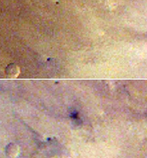 Now you don't see it … now you do. The image at top was acquired March 27, 2012. The one of the bottom was the next day, March 28. Big crater! Image via NASA/JPL-Caltech/MSSS