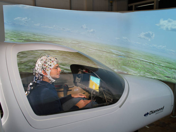 Simulating brain controlled flying at the Institute for Flight System Dynamics. Photo credit: A. Heddergott/TU München