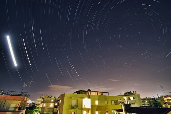 Moon trail and star trails by Nikolaos Pantazis in Athens, Greece.  Thank you, Nikolaos!