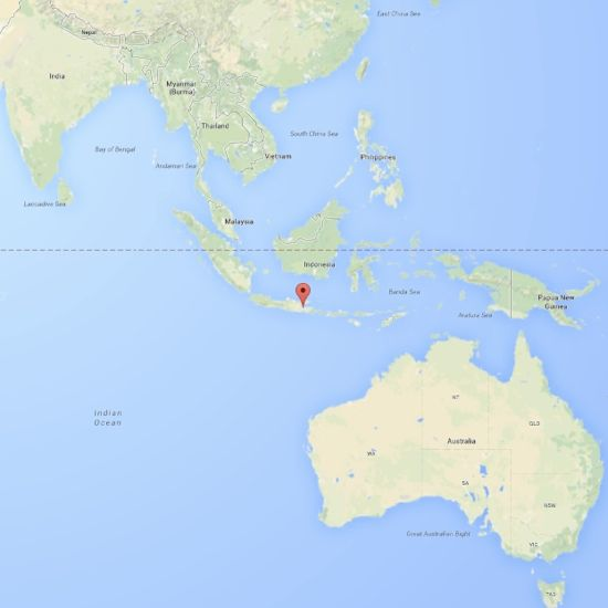 The red marker shows the location of Mount Bromo in Indonesia.  Via Google Maps.