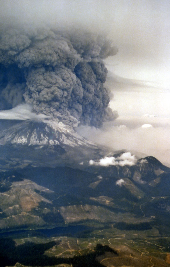 Photograph of Mount St. Helens taken during the May 18, 1980 eruption. Image Credit: Oman/Combs, National Park Service.