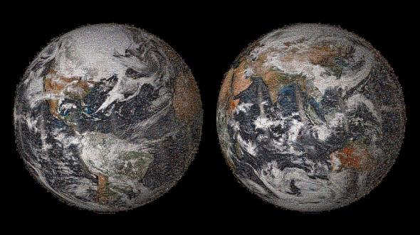 This is NASA's massive, 3.2 gigapixel mosaic of ... us.  And we look good.  Image via NASA.