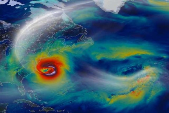 A NASA computer model simulates Hurricane Sandy's progression. On Oct. 29, 2012, a day before landfall, Sandy intensified into a Category 2 superstorm nearly 1,000 miles wide. Image credit: Credit: NASA/Goddard Space Flight Center/William Putman