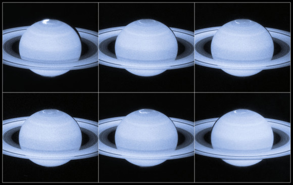 Astronomers using the NASA/ESA Hubble Space Telescope have captured new images of the dancing auroral lights at Saturn's north pole. The ultraviolet images, taken by Hubble's super-sensitive Advanced Camera for Surveys, capture moments when Saturn's magnetic field is affected by bursts of particles streaming out from the Sun, providing evidence that the auroral displays are often caused by the dramatic collapse of the planet's magnetic tail. Image and caption via NASA/ESA