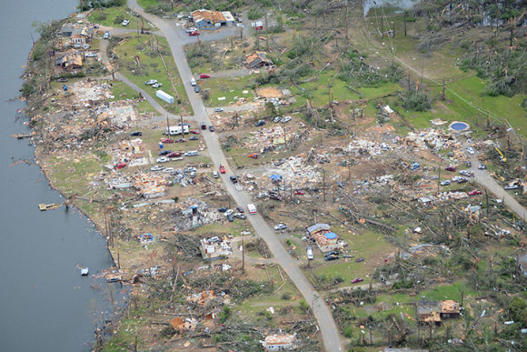 The National Weather Service's LIttle Rock office captured this ariel view of the destruction along Lake Conway in Arkansas, on April 30.