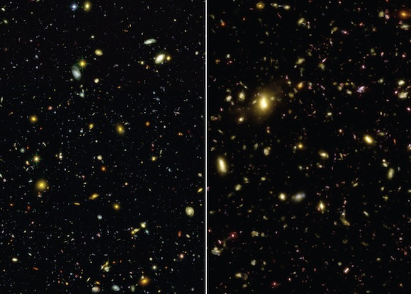 View full size. These visible-light images compare an actual photograph of the sky (left) taken with the Hubble Space Telescope to a simulated view (right) generated by the Illustris simulation. The simulation accurately reproduces the sizes, types, and colors of galaxies in the universe. Credit: NASA / Illustris Collaboration