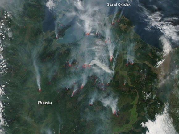 NASA's Aqua satellite acquired this natural color image on August 28, 2012.  It shows wildfires in eastern Russia, which began burning that year in June.  Read more about this image from NASA.