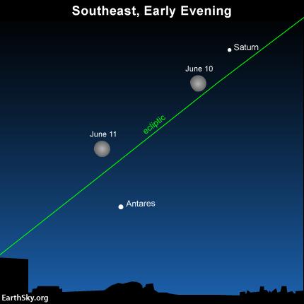 Moon near Saturn, heading toward star Antares on June 10 Read more