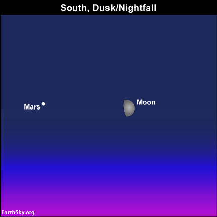 The moon and Mars near each other at nightfall on Friday, June 6 Read more