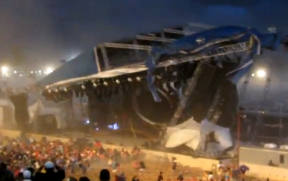 Scarily-tilting large stage roof, aimed toward a crowd of fleeing spectators.