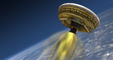 Artist's concept of NASA's new LDSD, as it'll be used to lift heavy payloads on the planet Mars.
