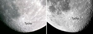 2 images side by side of part of the moon, including the Tycho crater.