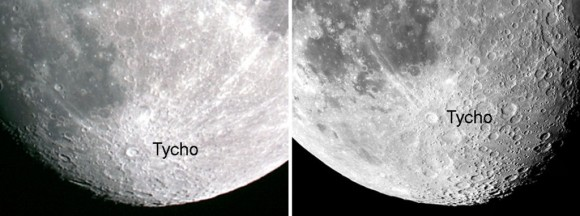 The prominent crater Tycho provides an easy way for us to see libration in latitude. In the photo at right, notice how much farther south of Tycho you can see during a favorable libration. Credit: John Chumack (left), Frank Barrett (right) . Caption and photos via AstroBob.