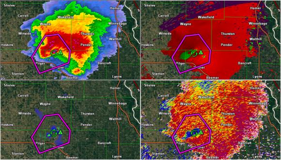 Radar imagery showing the intense supercell after it just pushed through Pilger, Nebraska. Image Credit: Matt Daniel/Gibson Ridge Software