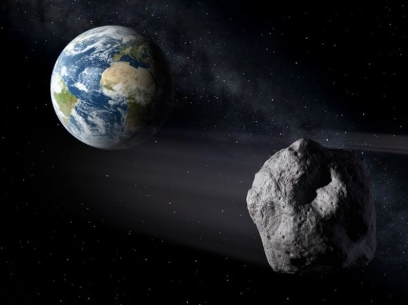 Artist's concept of near-Earth asteroid, like 2014 HQ124, which will pass closest to Earth on June 8 at 3.3 lunar distances.  By P. Carril and ESA.