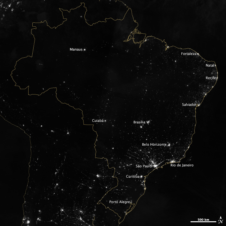 View From Space: Brazil's World Cup Cities At Night
