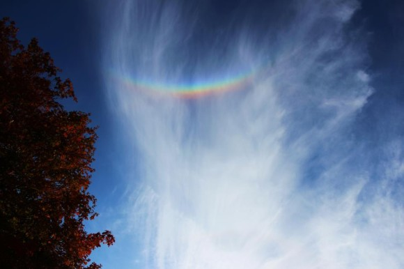 John Gravell captured this circumzenithal arc from Boston on October 17, 2012.