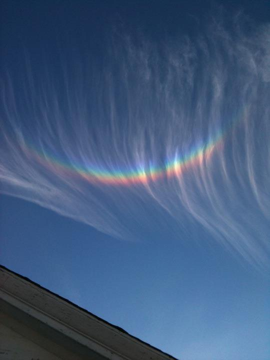 A lovely circumzenithal arc amidst high clouds by Dudley Williams on December 18, 2011.