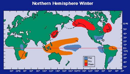 Typical temperature and precipitation anomalies during El Nino. Image Credit: NOAA.