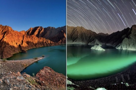Justin Ng used these two photos to create the composite of Hatta Dam, day to night, on the page above.