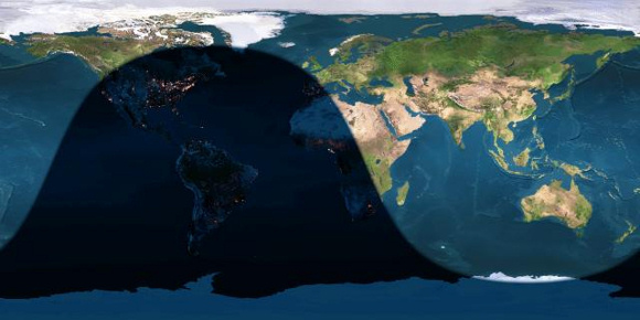 Day and night sides of Earth at the instant of the June 2014 full moon (2014 June 13 at   4:11 Universal Time)