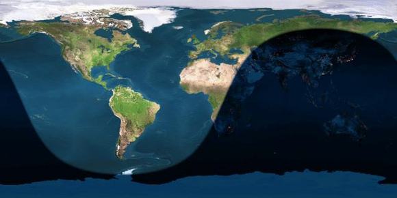 Day and night sides of Earth at the instant of the June 2015 solstice (2015 June 21 at 16:38 Universal Time).