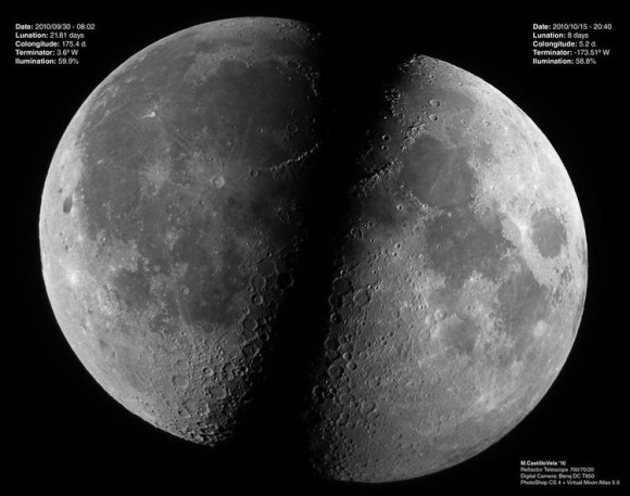 Lunar libration lets us see more than 50% of the moon.   This image was the Earth Science Picture of the Day for December 5, 2010.  Read about this image here.  Photos by Manuel Castillo Vela.